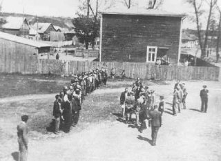 Employees of the Jewish council in the Kovno ghetto...