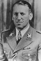 SS General Ernst Kaltenbrunner served as head of the Reich Security Main Office (RSHA) and as chief of Nazi Security Police (Sip