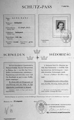 "Swedish ""protective pass"" issued to Lili Katz, a Hungarian Jew."