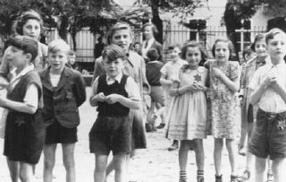 A photograph of Jewish children in the Theresienstadt...