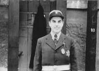 Photograph of a Jewish  policeman taken during an International Red Cross visit to the Theresienstadt ghetto. The SS deceived the delegation into believing that the ghetto was a self-administered Jewish settlement. Czechoslovakia, June 23, 1944.