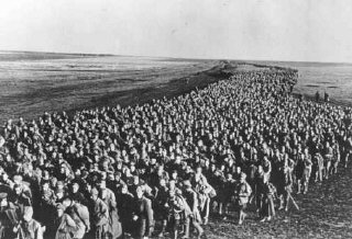 Column of Soviet prisoners of war from the Ukrainian front. Kharkov, Soviet Union, June 18, 1942.
