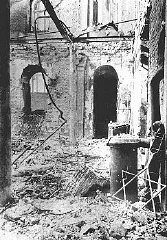 Sephardic synagogue destroyed during the January 21-23 Iron Guard pogrom. Bucharest, Romania, January 1941.