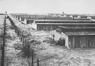 View of barracks in the Majdanek camp. Poland, date uncertain.