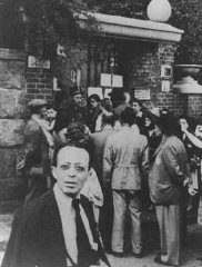 Hungarian Jews wait in front of the Swedish legation...