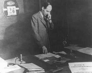 Raoul Wallenberg in his office in the Swedish legat...