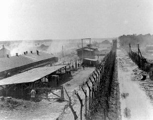 A view of the Bergen-Belsen concentration camp after...