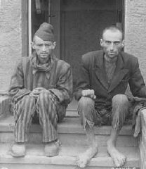 Survivors of the Dora-Mittelbau concentration camp...