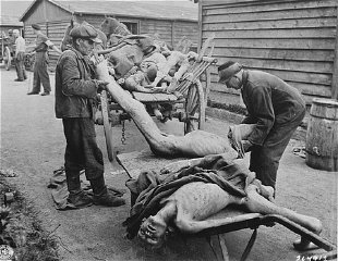 Victims of starvation are removed after US troops liberated Gusen, a subcamp of the Mauthausen concentration camp.