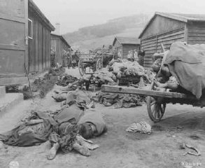 Corpses found when UStroops liberated the Gusen camp, a subcamp of the Mauthausen concentration camp.