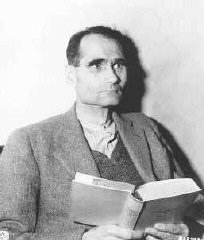 Defendant Rudolf Hess in his prison cell.