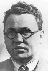 Jacob Edelstein, chairman of the Jewish council in Theresienstadt. He was deported, and shot in Auschwitz in 1944. Theresienstadt, Czechoslovakia, 1942–1943.