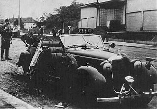 The damaged car of SS General Reinhard Heydrich after...