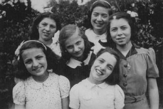 Six Jewish girls hidden from the Nazis at the Dominican Convent of Lubbeek near Hasselt. Belgium, between October 1942 and October 1944.
