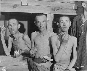 Emaciated survivors in the Ebensee subcamp of the Mauthausen...