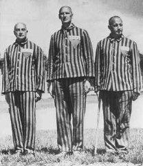 Prisioneros austríacos, marcados con parches de identificación...