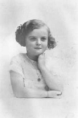 Seven-year-old Jacqueline Morgenstern, later a victim of tuberculosis medical experiments at the Neuengamme concentration camp. She was murdered just before the liberation of the camp. Paris, France, 1940.