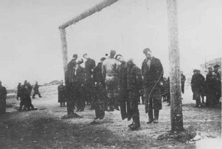 Members of the Lvov Jewish council are hanged by the...