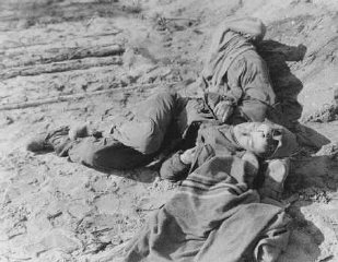 Polish and Russian forced laborers shot by the SS after they had collapsed from exhaustion during a death march.