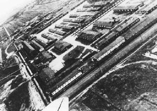 Aerial view of Neuengamme concentration camp.