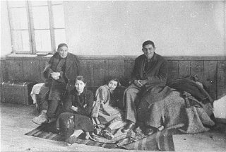 At the Tobacco Monopoly transit camp in Skopje, a family...