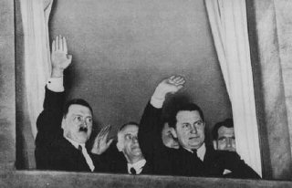 Adolf Hitler, Wilhelm Frick, and Hermann Goering wave...