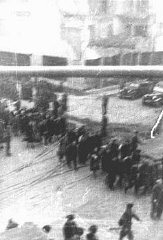 Deportation of Jews from the Warsaw ghetto during the...
