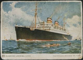 Cartão postal do navio St. Louis. Maio de 1939.
