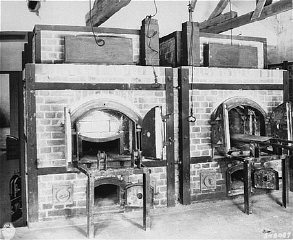Two ovens inside the crematorium at the Dachau concentration camp. Dachau, Germany, July 1, 1945.