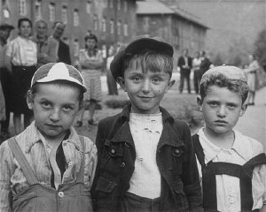 Children in the Bad Reichenhall displaced persons camp. Germany, 1945.