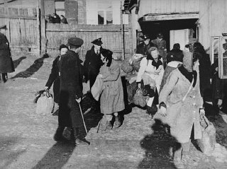 Scene during the deportations of Jews from the Kovno...