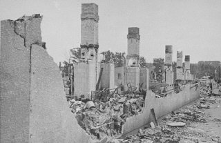 Ruins of a building in the Kovno ghetto gutted when the Germans attempted to force Jews out of hiding during the final destructi