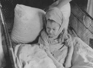 A child in the Kovno ghetto hospital.
