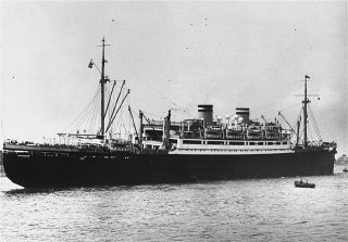 "The ""St. Louis,"" carrying Jewish refugees from Nazi Germany, arrives in the port of Antwerp after Cuba and the United States denied it landing. Belgium, June 17, 1939."