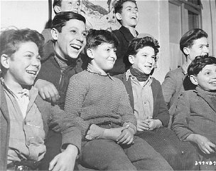 Jewish refugee orphans pose for a group photograph...