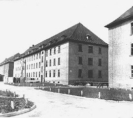 Barracks in the Ebelsberg camp for Jewish displaced...