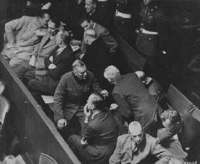 The defendants' box at the Nuremberg trial.