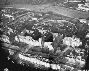 Aerial view of the Nuremberg Palace of Justice, where the International Military Tribunal tried 22 leading German officials for