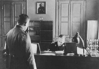 SS General Reinhard Heydrich in his office during his...