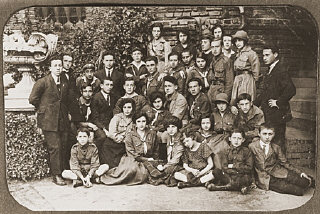 Group portrait of members of Ha-Shomer ha-Tsa'ir Zionist...