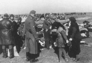 Ukrainian Jews who were forced to undress before they were massacred by Einsatzgruppe detachments.