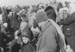 Una redada de judíos de Lubny, poco antes de que fueran...