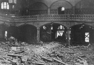 "Synagogue destroyed during Kristallnacht (the ""Night of Broken Glass"")."