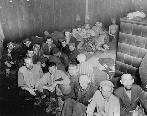Camp survivors in barracks at liberation.