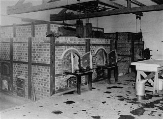 The crematoria at Dachau concentration camp, soon after the liberation of the camp. Germany, after April 29, 1945.