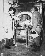 After the liberation of the Flossenbürg camp, a US...