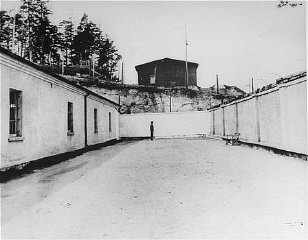 Execution site in the Flossenbürg concentration camp, seen here after liberation of the camp by US armed forces.