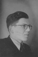 Photograph of Daniel Trocme, who hid Jewish children from the Nazis in the Maison des Roches children's home. Le Chambon-sur-Lignon, France, September 21, 1943.
