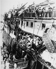 British military personnel (upper deck) aboard the...