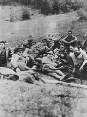 "Members of the Slovak partisan unit ""Petofy"" before a mission."